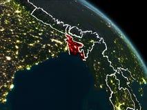 Le Bangladesh en rouge la nuit Photo stock