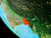Le Bangladesh en rouge le soir Image stock
