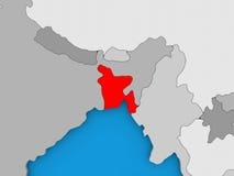 Le Bangladesh en rouge sur le globe Photographie stock