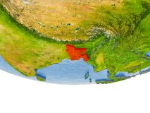Le Bangladesh en rouge sur le modèle de la terre Photo stock