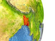Le Bangladesh en rouge sur terre Photos stock