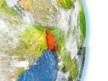 Le Bangladesh en rouge sur terre Photos libres de droits
