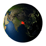 Le Bangladesh en rouge sur terre d'isolement sur le blanc Photographie stock