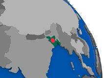 Le Bangladesh et son drapeau sur le globe Photographie stock