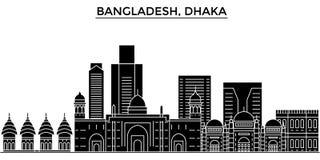 Le Bangladesh, l'horizon de ville de vecteur d'architecture de Dhaka, paysage urbain de voyage avec des points de repère, bâtimen Photo stock