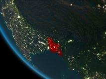 Le Bangladesh la nuit d'orbite Photos libres de droits