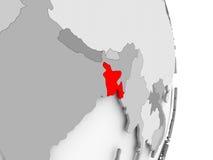 Le Bangladesh sur le globe politique gris Image stock