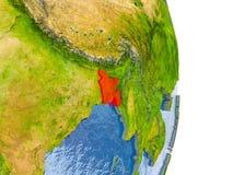 Le Bangladesh sur le globe réaliste Images libres de droits