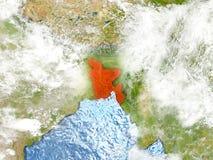 Le Bangladesh sur la carte avec des nuages Photo libre de droits