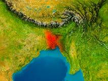Le Bangladesh sur la carte physique Image stock