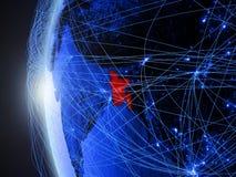 Le Bangladesh sur la terre bleue avec le réseau illustration stock