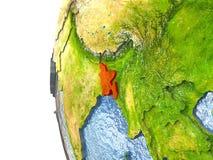 Le Bangladesh sur le globe Photographie stock