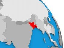 Le Bangladesh sur le globe Image libre de droits