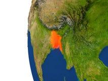 Le Bangladesh sur le globe Images stock