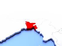 Le Bangladesh sur le globe Photo libre de droits