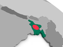 Le Bangladesh sur le globe avec le drapeau Photographie stock