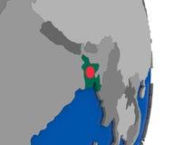 Le Bangladesh sur le globe avec le drapeau Photos libres de droits