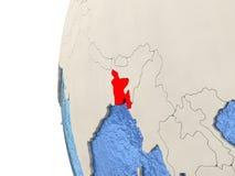 Le Bangladesh sur le globe 3D Photographie stock libre de droits