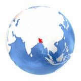 Le Bangladesh sur le globe d'isolement sur le blanc Photos libres de droits