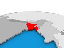 Le Bangladesh sur le globe en rouge Image libre de droits