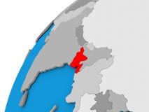 Le Bangladesh sur le globe en rouge Image stock