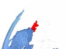 Le Bangladesh sur le globe métallique avec les océans bleus Photos stock