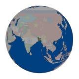 Le Bangladesh sur le globe politique Photos stock