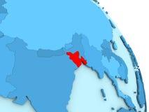 Le Bangladesh sur le globe politique bleu Images libres de droits