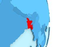 Le Bangladesh sur le globe politique bleu Photos libres de droits