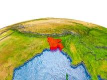 Le Bangladesh sur le modèle de la terre Image libre de droits