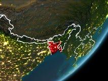 Le Bangladesh sur terre de nuit Image libre de droits