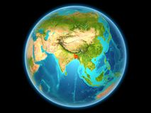 Le Bangladesh sur terre de planète Image stock