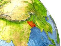Le Bangladesh sur terre en rouge Photographie stock libre de droits
