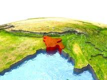 Le Bangladesh sur terre en rouge Images stock