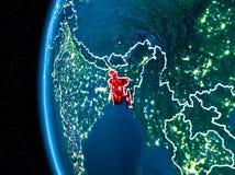 Le Bangladesh sur terre la nuit Image libre de droits