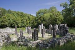 Le baptistère, Butrint, Albanie Images libres de droits