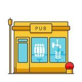 Le bar établissant illustration au trait plat, vecteur de concept a isolé l'icône Image libre de droits