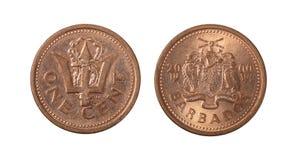 Le Barbados una moneta del centesimo fotografie stock libere da diritti