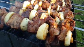 Le barbecue est fait frire pour l'été chaud banque de vidéos