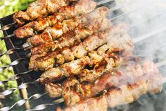 Le barbecue est préparé sur le gril photographie stock libre de droits