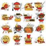 Le barbecue et le gril marquent l'autocollant d'étiquette pour la publicité Illustration Stock