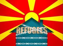 Le barbelé a fermé l'icône à la maison texturisée par le drapeau de la Macédoine Photo stock