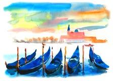 Le barche blu sul lago, i handicles sono riflesse nell'acqua illustrazione vettoriale