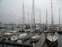 Le barche della Irene di uragano hanno attraccato nel porto di Boston Fotografia Stock
