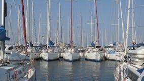 Le barche si sono messe in bacino al club di sport della navigazione, yacht di corsa che galleggiano sull'acqua al marinaio video d archivio