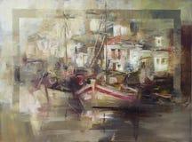 Le barche sull'isola harbor, pittura fatta a mano Immagine Stock