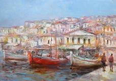 Le barche sull'isola harbor, pittura fatta a mano Immagine Stock Libera da Diritti
