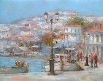 Le barche sull'isola harbor, pittura fatta a mano Fotografia Stock Libera da Diritti