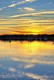 Le barche a vela hanno allineato al hdr di tramonto Immagini Stock Libere da Diritti