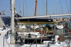 Barche a vela messe in bacino a Venezia Fotografie Stock